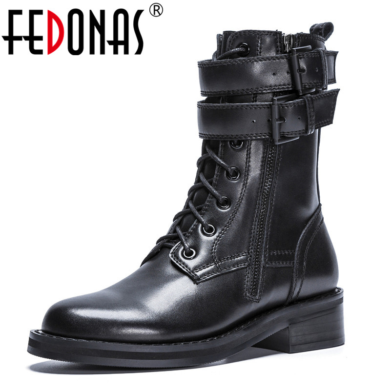 FEDONAS Brand Women Mid-calf Boots Thick Heels Autumn Winter High Martin Shoes Woman Buckles Genuine Leather Motorcycle Boots trendy women s mid calf boots with splicing and buckles design