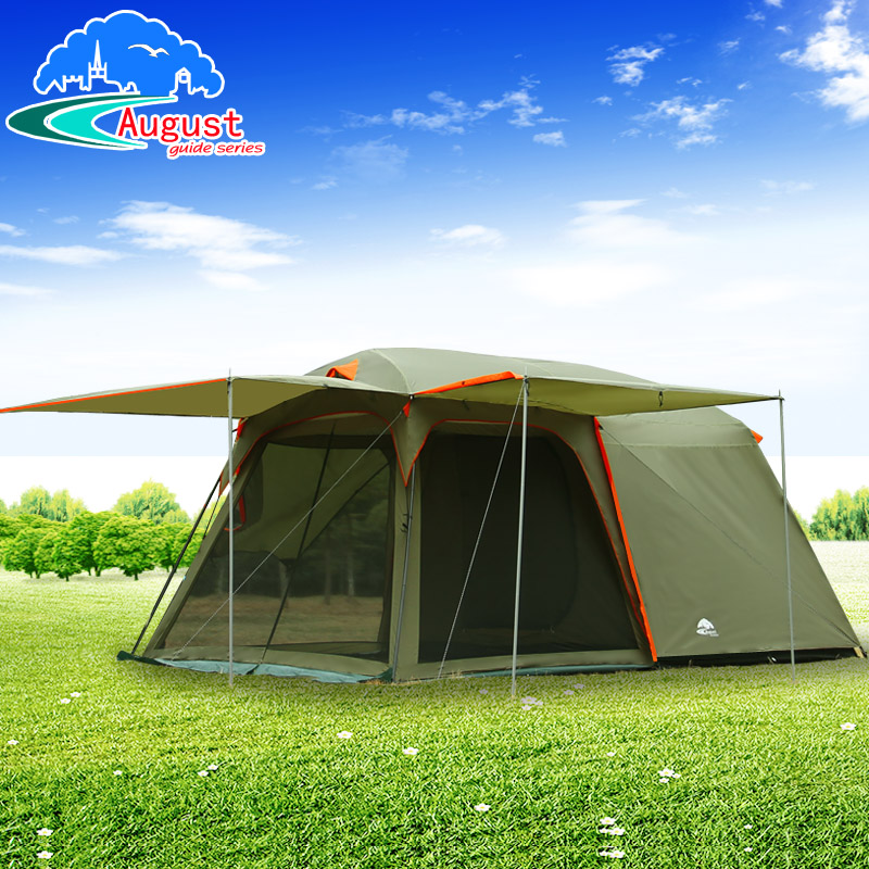 Outdoor 6 person 2 room double layer large awning c&ing tent family tent & Outdoor 6 person 2 room double layer large awning camping tent ...