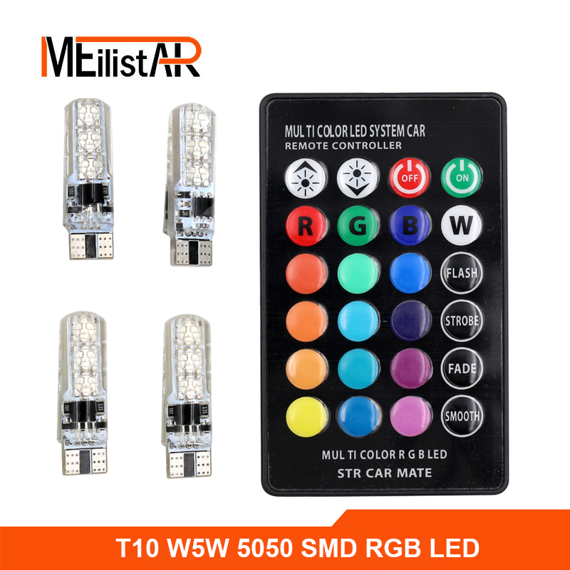 4PCS Multicolor 5050 SMD RGB LED T10 194 168 W5W Car Interior Fancy Dome Read Lamp Remote Width Light Source With Remote Control 2x t10 w5w 168 194 smd 6 led 5050 remote control rgb car reading wedge lights for car tail light side parking door lighting