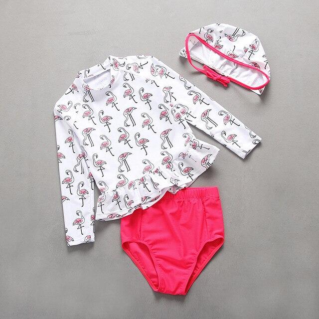b5e96e9dae180 Flamingo Swimsuit for Girls Infantil Baby Beach Swimsuit Girls UV  Prodection Spf 50+ Long Sleeve Sunscreen Swimwear Swimming Set