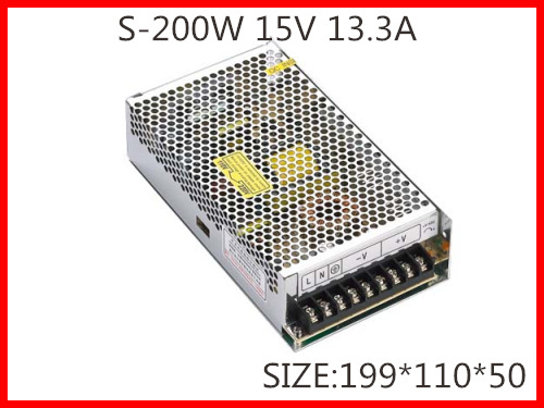 200W 15V 13.3A Single Output Switching power supply for Monitor Display LED Strip light  AC-DC  S-200-15 145w 24v 6a single output switching power supply for led strip light ac to dc smps