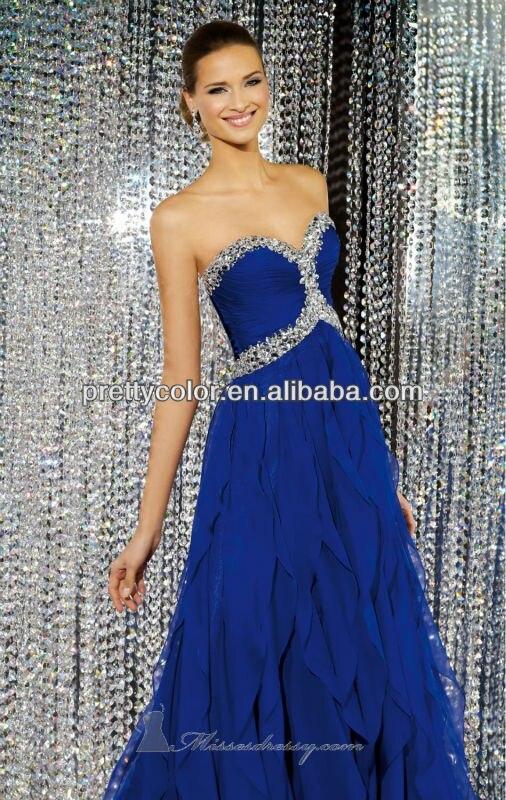 Royal Blue Chiffon Empire Floor Length Sweep Train Beaded Neckline Prom  Dresses For Mature Women 17056c18fac6