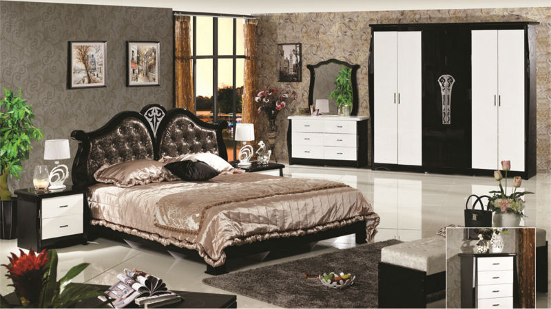 Luxury Suite Bedroom Furniture Of Europe Type Style Including 1 Bed 2  Bedside Table 1 Chest A Dresser And A Makeup Chair Awesome Design