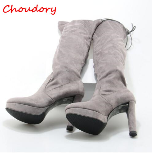 Choudory Slim Women Thigh High Stretch Boots Gray Suede Female Platform High Heel Long Boots Slip On Round Toe Black Women Shoes women stretch fabric faux suede patchwork sexy thigh high boots comfort block heel female footwear slip on flower printed shoes