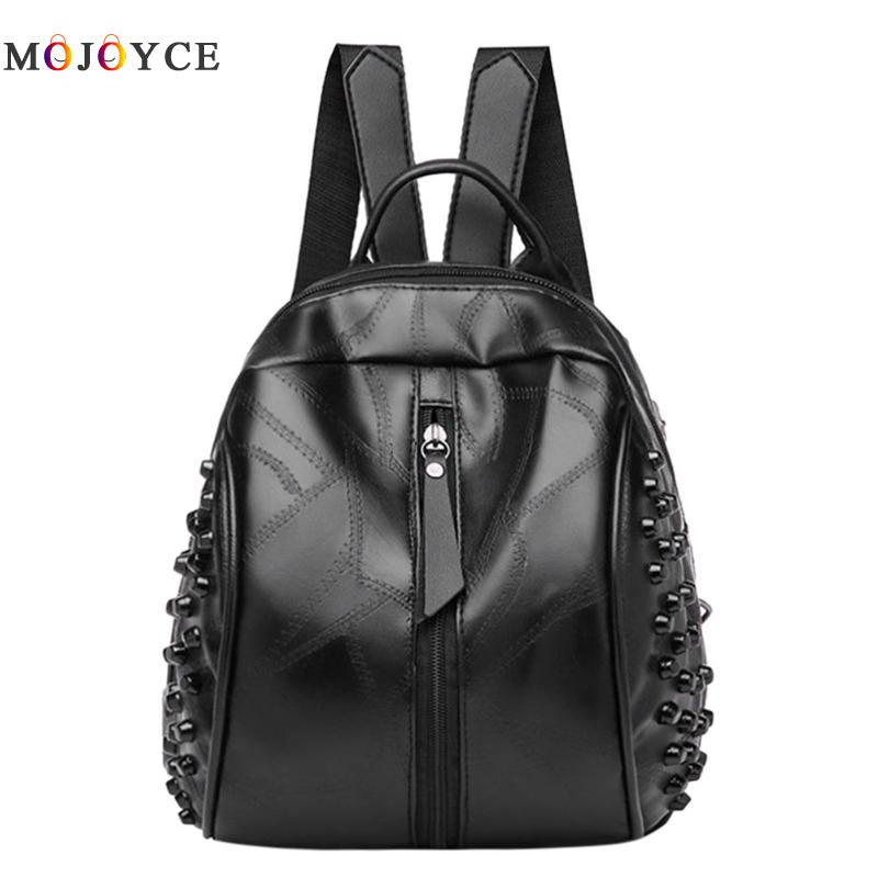 Punk Rivets Women Mini Backpacks Girl Student Pu Leather Back Pack Travel Rucksack Mochila Feminina