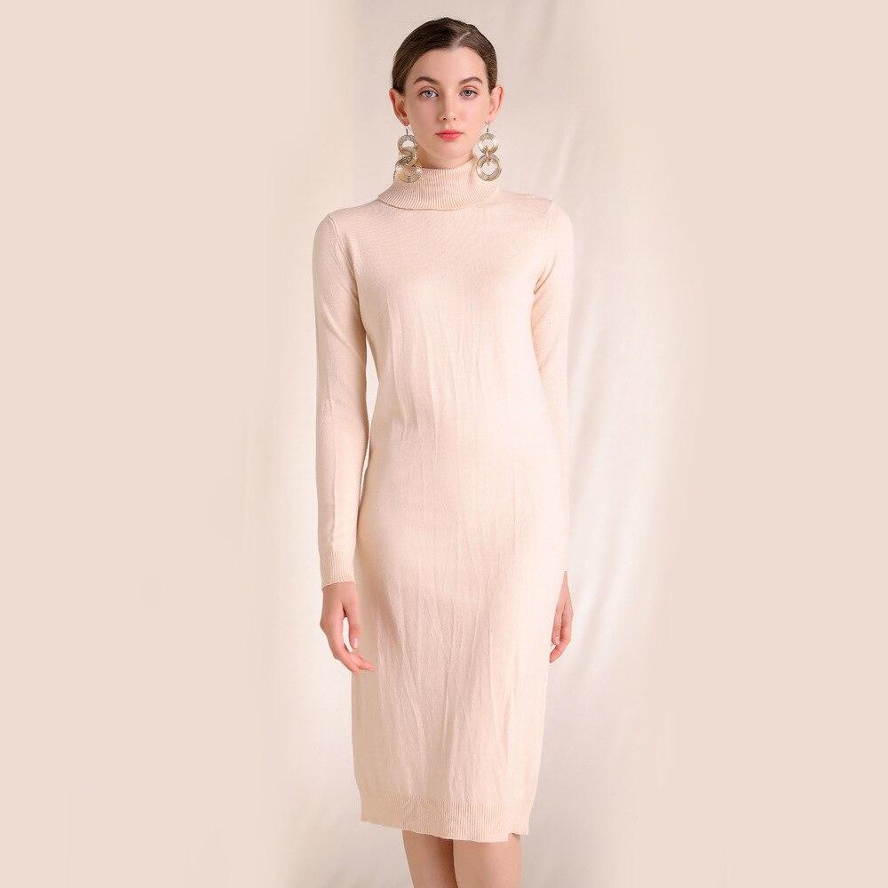 Tricoté robe femme automne et hiver 2018 nouveau Style français calme doux pull col roulé à manches longues fond robe femme