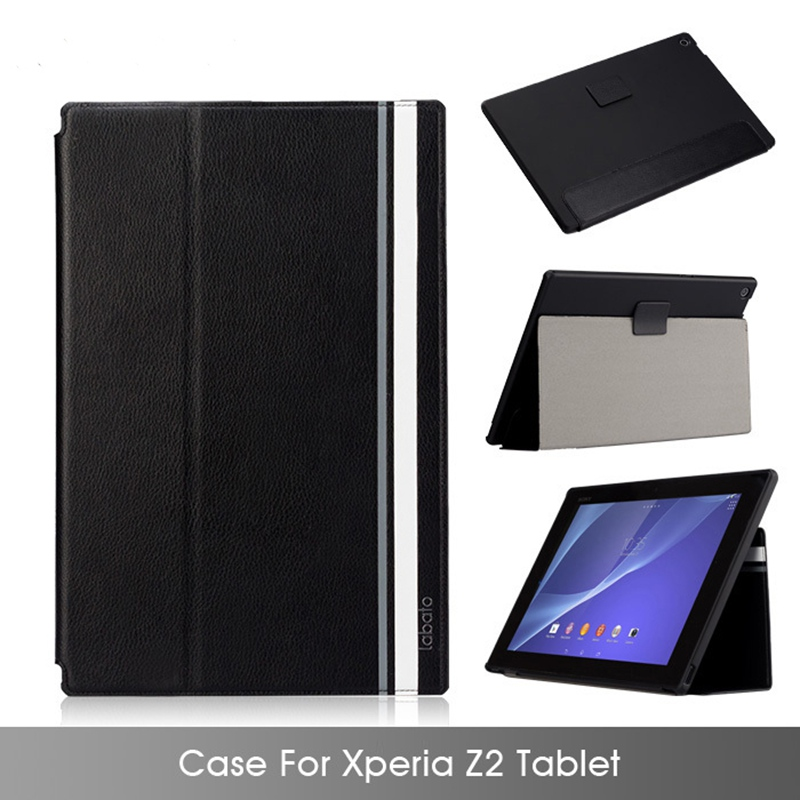 Labato Case For Sony Xperia Z2 font b tablet b font 100 Handmade Leather PC Stand