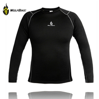 WOLFBIKE Men's Cycling Base Layers Sport Undershirts Compression Under Wear Top Shirts Skins Wear Winter Warm Thermal Tees Tops