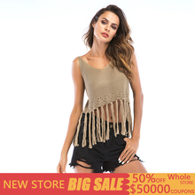 Casual Summer Tassel Corp Top Women Crochet Knitted Sleeveless Solid Tank Top Women Sexy Streetwear Vests Tops Mujer Verano 2019