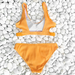 Image 5 - Cupshe Yellow Feather Yarn Solid Bikini Set Plain Hollow out Padded Two Pieces Swimwear 2020 Women Sexy Thong Swimsuits