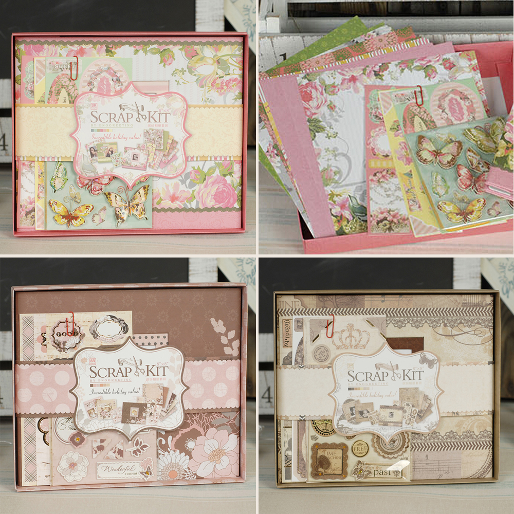 buy vintage photo album kit diy scrapbook kit with scrapbook paper and. Black Bedroom Furniture Sets. Home Design Ideas