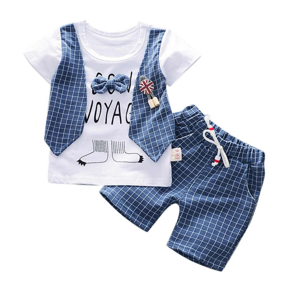Toddler Boys Summer 2020 Clothes Set Fashion Plaid Letter Print Kids Set With Bow Boys Clothing Casual Pockets Children Boys Set