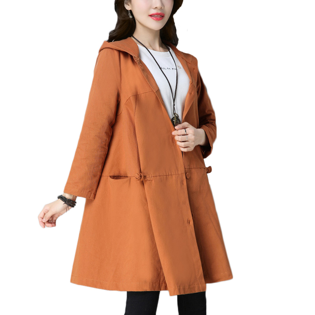 661a0e6b42f24 Spring long trench coat for women 2018 autumn new loose womens windbreakers female  hooded coats women s