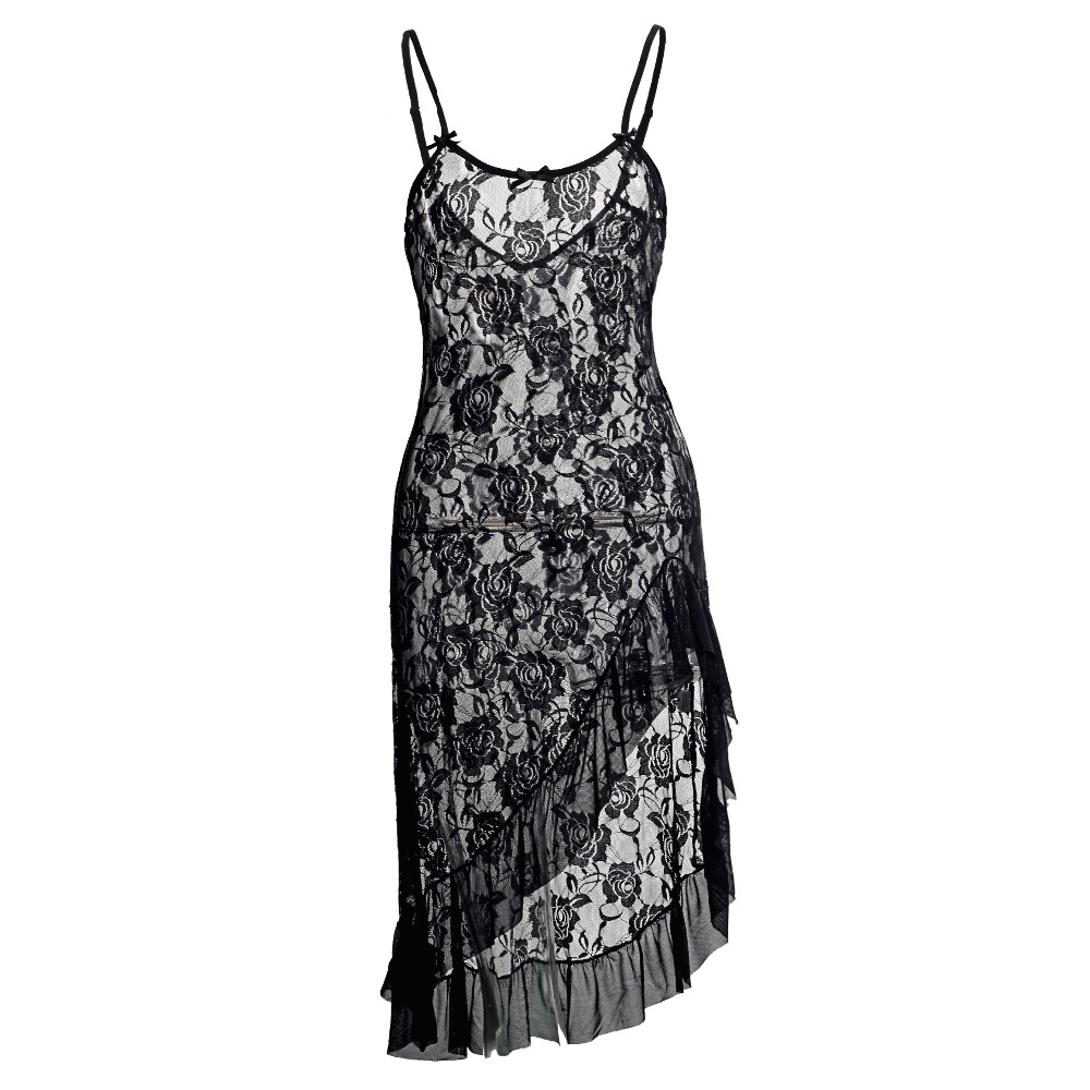 Ciimii New Hot Plus Size 6XL Temptation Long Nightie Dress For Lady Sexy Lingerie Rose Lace Nightgown & Sleepwear Sexy Costumes