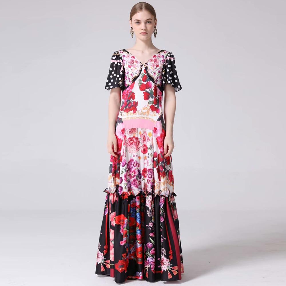 Moaa Yina Fashion Designer Runway dress Spring Summer Women Dress Half sleeve lily Floral Print Lace