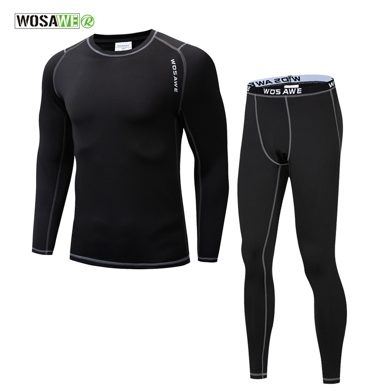 WOSAWE Thermal Fleece Underwear Men Winter Sports Cycling Base Layers Fitness Gym Jogging Riding Winter Warm Long Johns