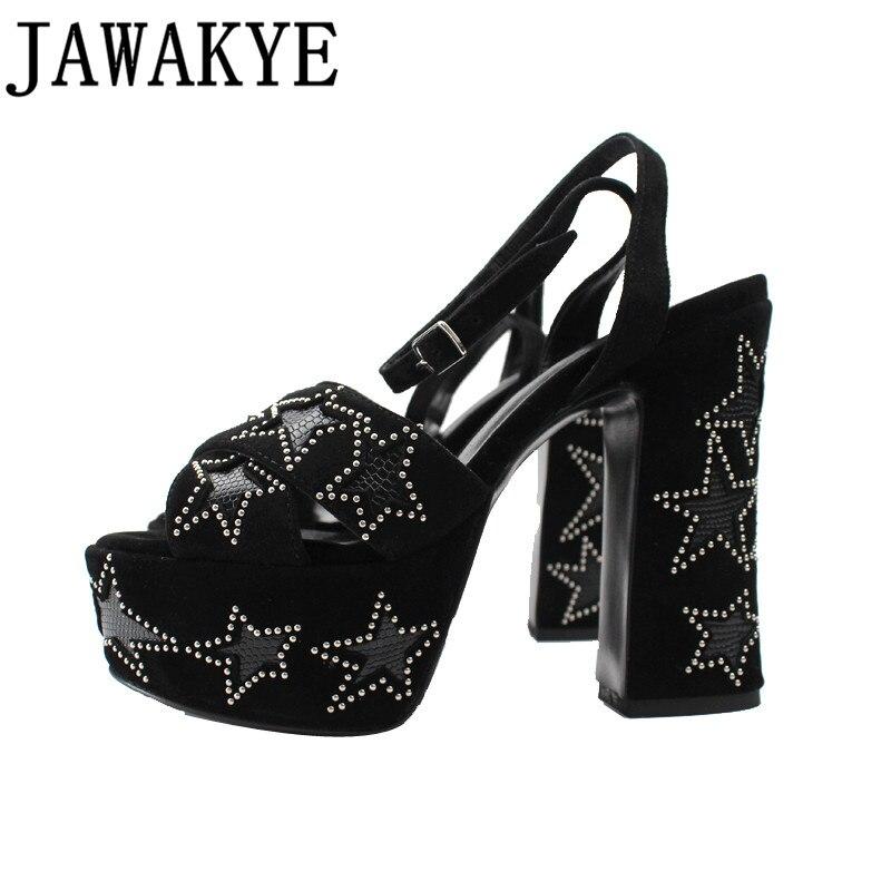 Kidsuede Sandals women platform thick bottom 12 5 cm high heels rivets studded five star decor