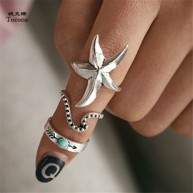 Tocona 3pcs/Set Vintage Antique Silver Starfish Wave Arrow Knuckle Finger Midi Rings Set for Women Bohemia Ring Jewelry 6857