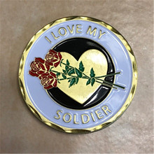цена на I Love My Soldier ~ Challenge Coin ~ U.S. Army Collectible, 50pcs/lot DHL free shipping