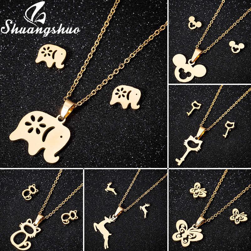 Shuangshuo biżuteria ze stali nierdzewnej Mickey naszyjniki i łańcuszek z wisiorkiem Choker naszyjnik dla kobiet Animal Cat Deer Collares