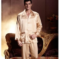 Underwear Pajamas Set Spring And Autumn Lovers Sleepwear Noble Silk Long Sleeve Set Male Women S