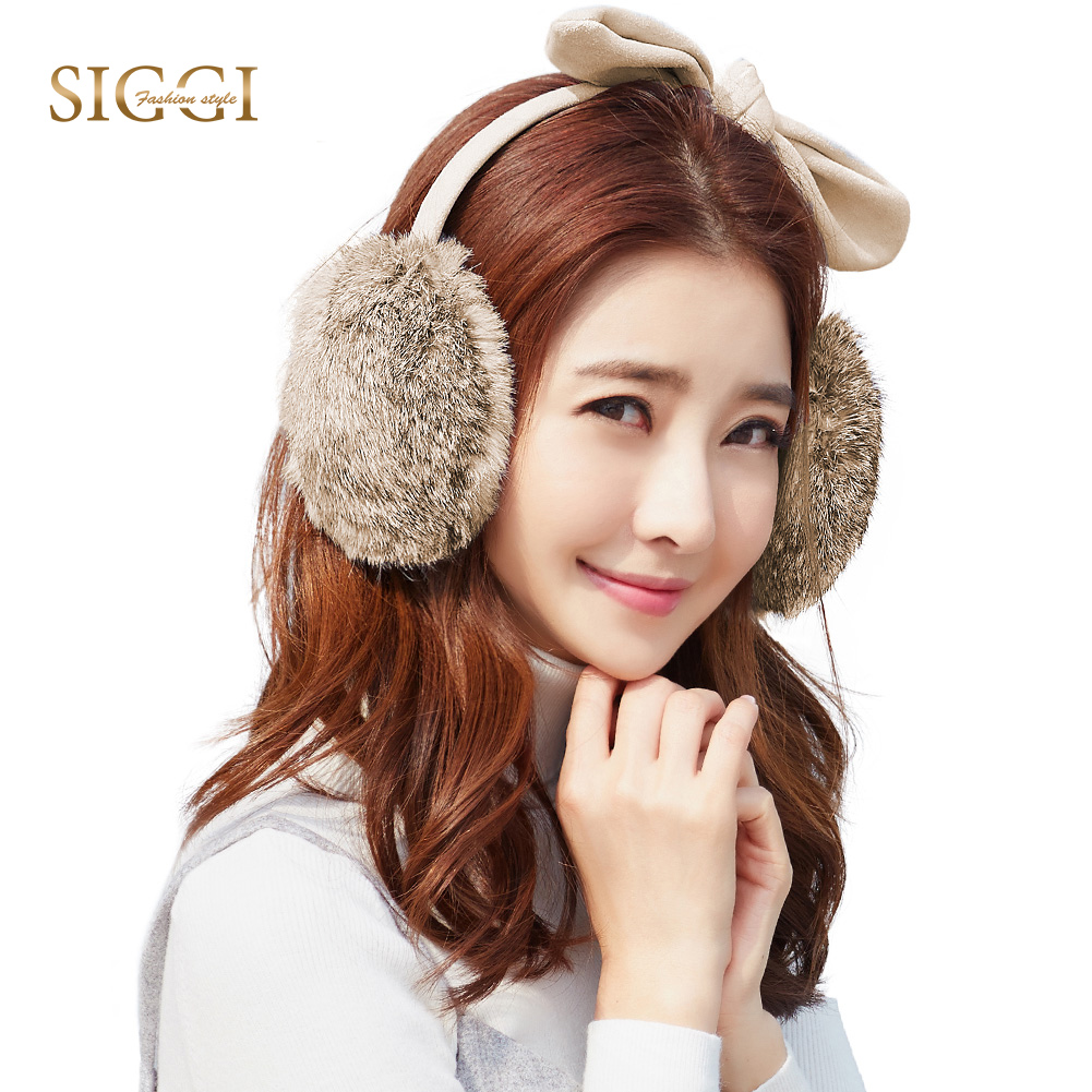 FANCET Winter Warm Women 100% Rabbit Fur Earmuffs Solid 4 Panels Cute Fleece Ear Protection For Youth Girls Ear Flap 89354
