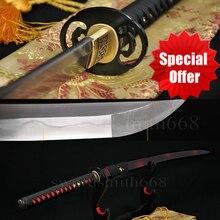 Damascus Folded Steel Clay Tempered Japanese Samurai KATANA FULL TANG Sword HANDMADE BLADE SHARP REAL HAMON CAN CUT TREES CUSTOM
