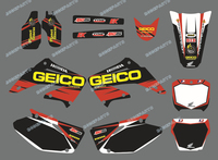 0015TEAM GRAPHICS BACKGROUNDS DECALS STICKERS Kit For HONDA CR125 CR250 2002 2003 2004 2005 2006 2007