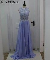 Light Purple Long Bridesmaid Dresses 2017 Robe Demoiselle D Honneur Lace Appliques Open Back Lavender Bride