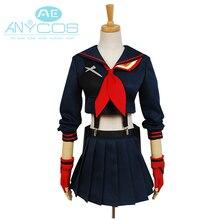 Убить ла Косплей Костюм Matoi японского аниме Хэллоуин маскарадные костюмы для женщин девочек короткое платье;