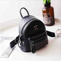 Women S Small PU Leather Backpack Bag Fashion Casual Ladies Travel Backpacks Rivet Mochila For Girls