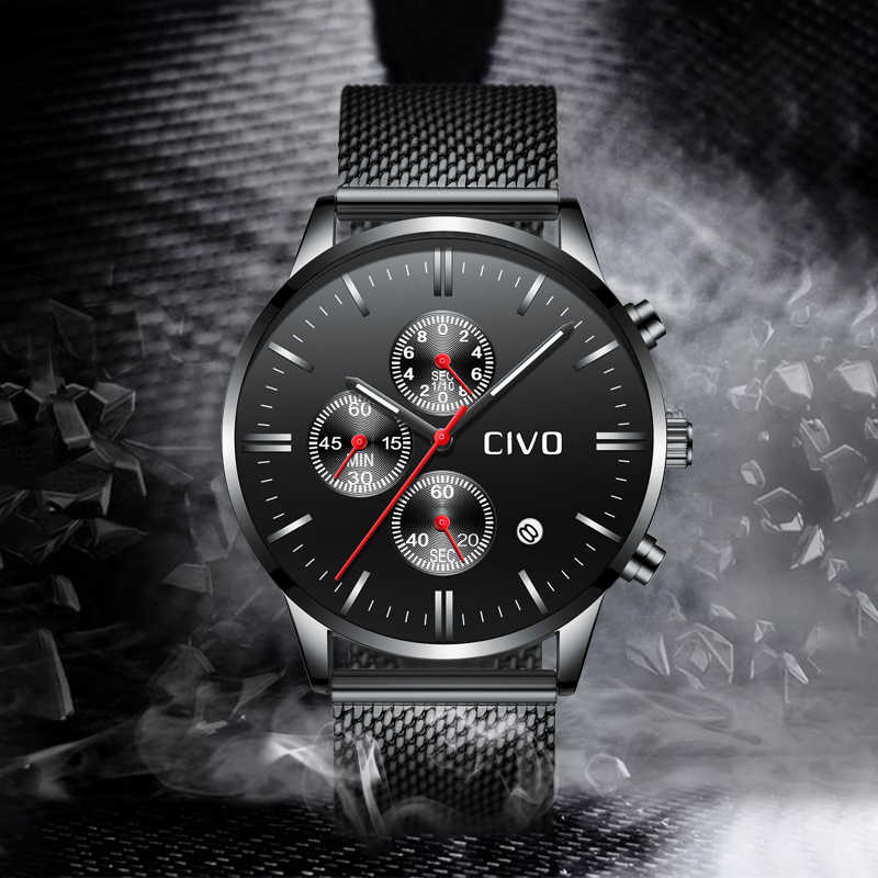 CIVO Fashion Luxury Watches For Men Top Brand Sport Waterproof Man Watch Mena Analog Quartz Clock Erkek Kol Saati Montre Homme