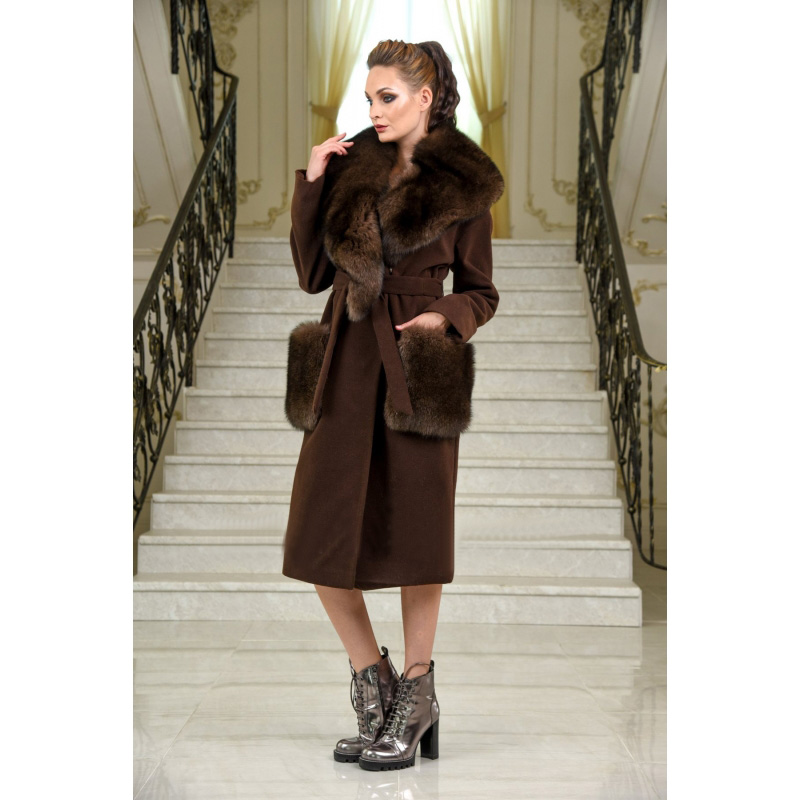 TOPFUR Luxurious Casual Women Natural Fox Fur Collar Coat Plus Size Fur Real Fur Winter With Fox Fur Pockets Long Wool Jacket