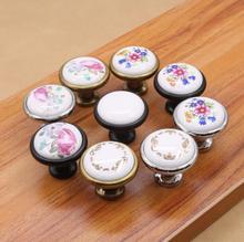 1pc 32mm Ceramic Knobs Flower Cupboard Pulls Knob Dresser Handles Black Bronze Kids Cabinet handles Decor