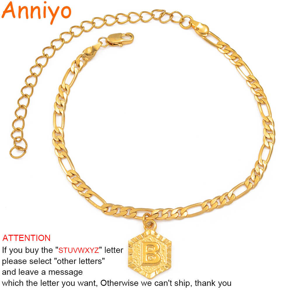 Anniyo 21cm + 10cm Extender Chain / A-Z Initial Letter Anklet for Women Fashion Alphabet Jewelry Gifts Foot Chain Girl #105906