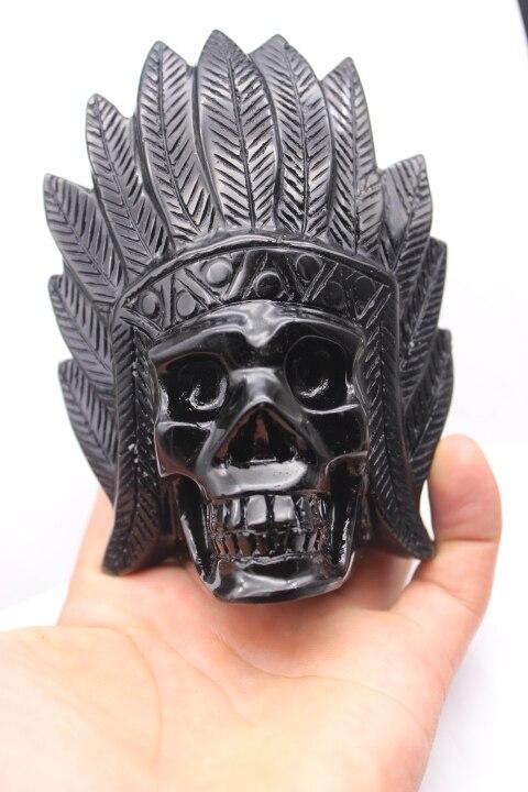 459g Natural Obsidian Carved Quartz Crystal Skull Reiki Healing