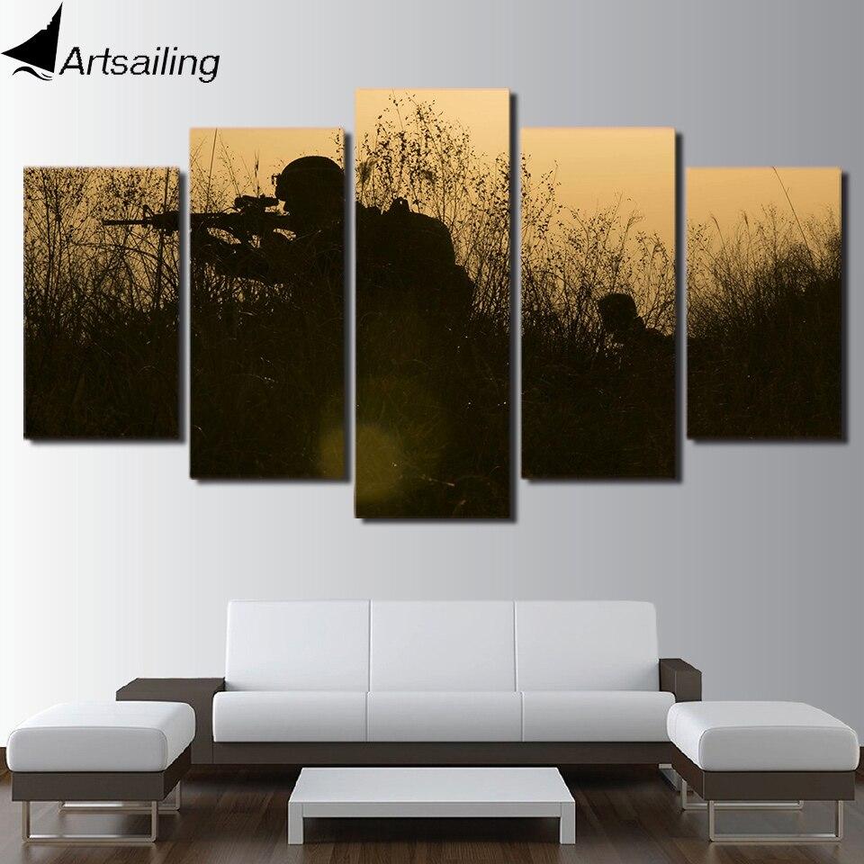 unidades de la lona arte soldados armas siluetas pintura lienzo arte de la pared poster
