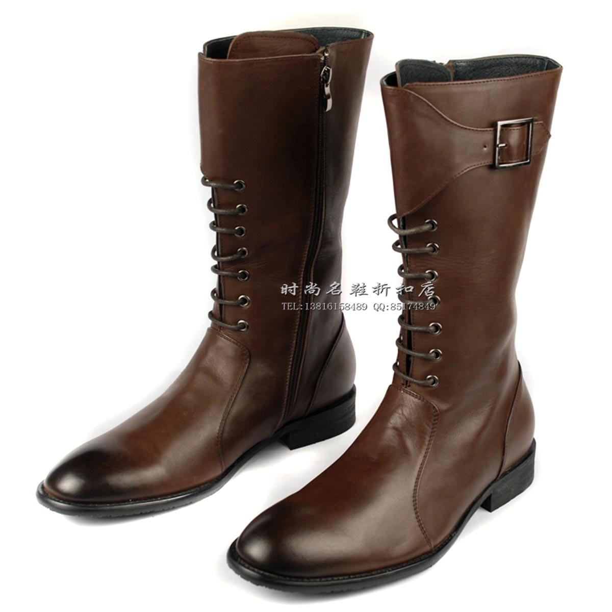 Fashion boots high leg trend men's genuine leather riding ...