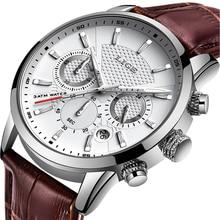 LIGE Mens นาฬิกาแบรนด์หรูหนัง Casual Quartz นาฬิกาผู้ชายกีฬาทหารนาฬิกากันน้ำสีดำนาฬิกา Relogio Masculino
