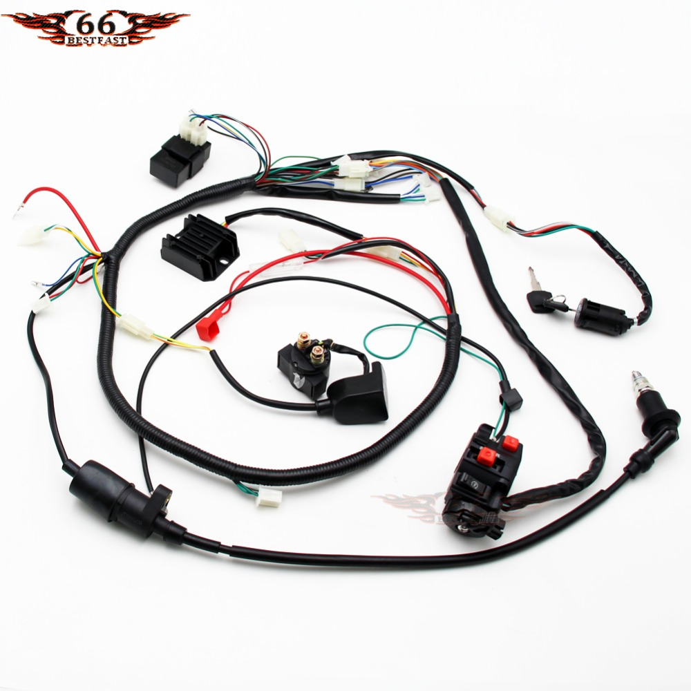 small resolution of full electric wire loom harness coil rely cdi switch for gy6 125cc 150cc atv go kart