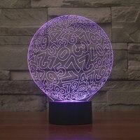 الدائرة الرقمية 3d مصباح led ملون ضوء الليل التدرج البصرية الدعاية الإبداعية هدية هدية مصباح