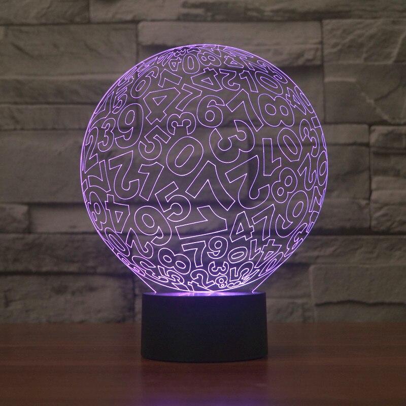 Vòng tròn kỹ thuật số 3D đèn LED Đèn Ngủ đầy màu sắc gradient ánh sáng trực quan quảng cáo sáng tạo món quà tặng đèn