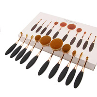 Rose Gold 10Pcs Pro Makeup Brushes Set Toothbrush Shaped Foundation Power Oval Cream Puff Concealer Lip