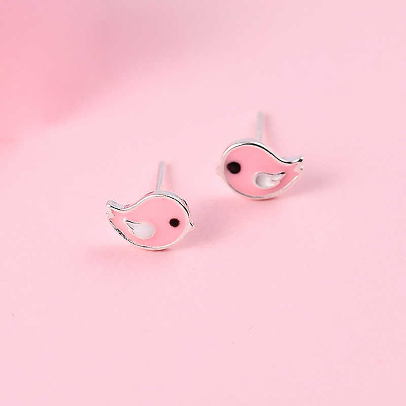 XIYANIKE น่ารัก 925 เงินสเตอร์ลิงสีชมพู Bird Stud ต่างหูสำหรับเด็กผู้หญิงน่ารักสัตว์เงินสเตอร์ลิง-เครื่องประดับ bijoux ใหม่