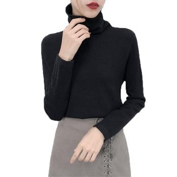 441f36961764323 Осень-зима Новый трикотаж Для женщин пуловер дна рубашки высокий воротник сплошной  Цвет толстый свитер