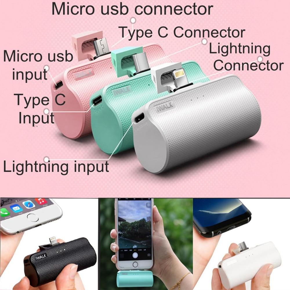 IWalk 3300 mah Puissance De Poche Bank MFI Type C Construit en USB C 8 Broches Câble Micro usb pour Apple iPhone Xiaomi Samsung Nexus Batterie