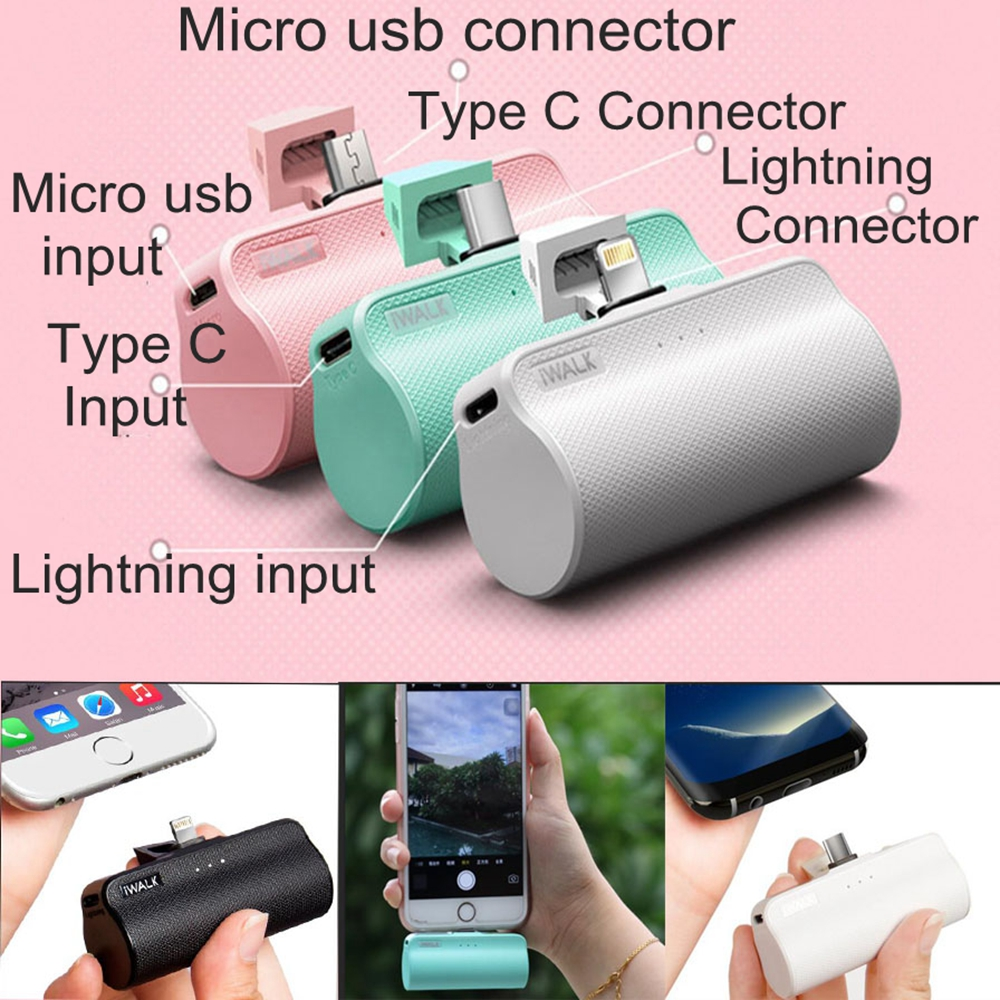 IWalk 3300 mah Tasche Energien-bank MFI Typ C Gebaut in USB C 8 Pin Kabel Micro usb für Apple iPhone Xiaomi Samsung Nexus Batterie