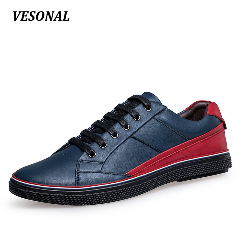 VESONAL Brand Patchwork men casual shoes Luxury Genuine Leather Fashion Designer Breathable Mens Shoes Male Footwear SD16531 2017 italy new brand designer golden genuine leather casual men shoes goose all sport star breathe shoes footwear zapatillas