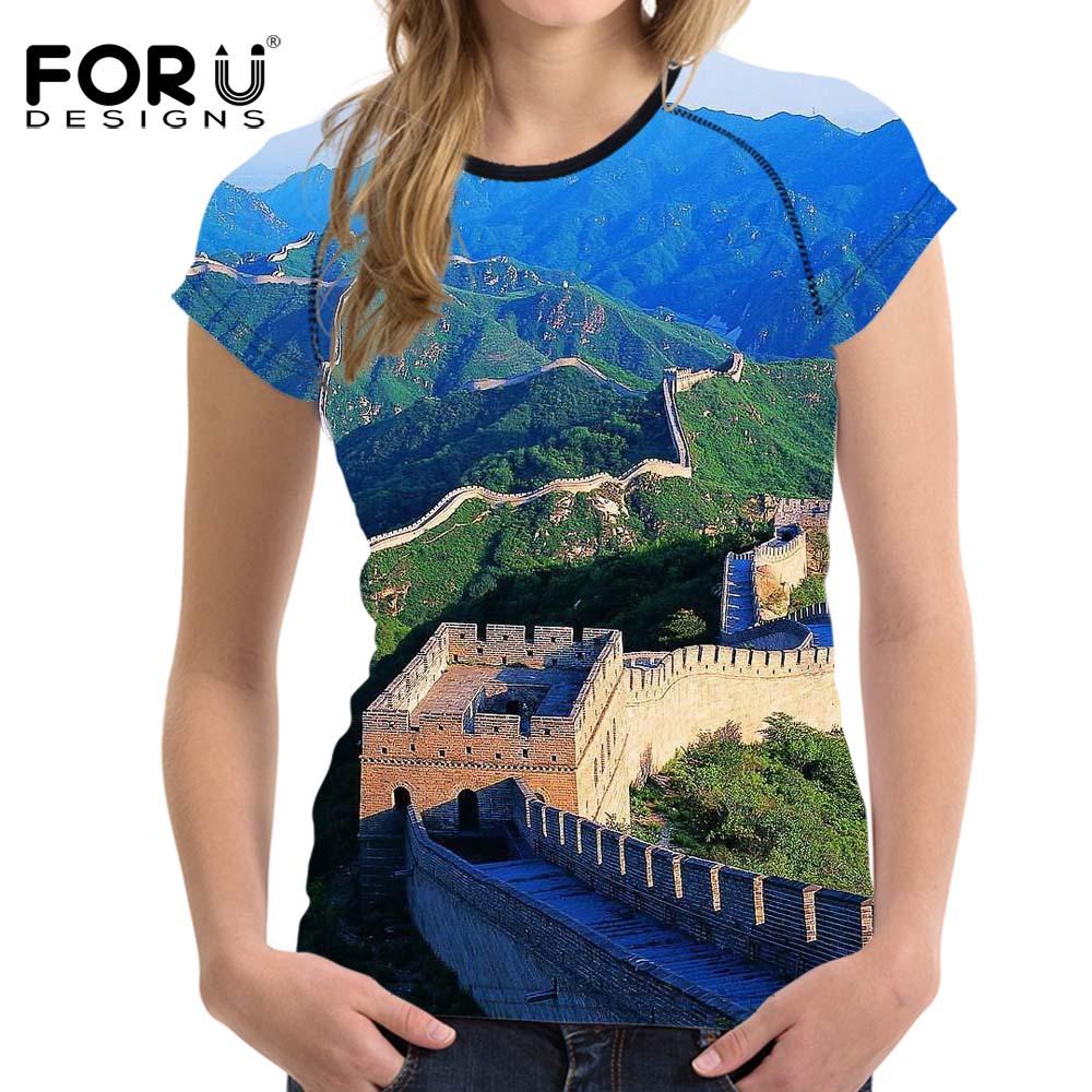 48739fbcf5079 FORUDESIGNS T Shirt Women Summer Novelty Design the Great Wall T shirt  Short Sleeved Feminine Shirt Crop Tops Woman Clothing-in T-Shirts from  Women's ...