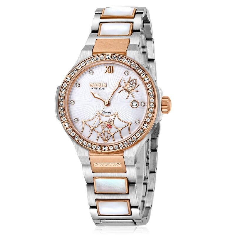 Zwitserland Luxe Merk Horloge Vrouwen NESUN vrouwen Horloges Quartz Relogio Feminino Spider Klok Diamond Horloges N9910 1-in Dameshorloges van Horloges op  Groep 2